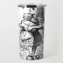 Vintage Alice in Wonderland flamingo croquet antique book drawing emo goth illustration art print  Travel Mug
