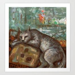Napping on the cushion Art Print