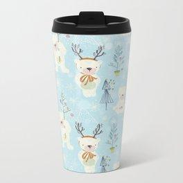 From Bears And Christmas-Cute teal X-Mas Pattern Metal Travel Mug