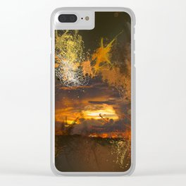 Exploding vibrant sunset Clear iPhone Case