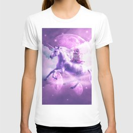 Kitty Cat Riding On Flying Space Galaxy Unicorn T-shirt