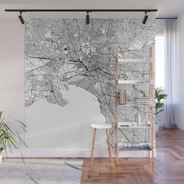 Melbourne White Map Wall Mural