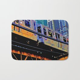Chicago 'L' in multi color: Chicago photography - Chicago Elevated train Bath Mat