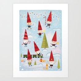Christmas Gnomes! Art Print