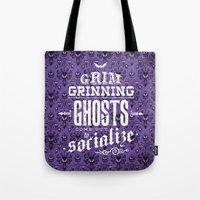haunted mansion Tote Bags featuring Haunted Mansion - Grim Grinning Ghosts by tonysimonetta