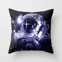 astronaut Throw Pillows featuring ASTRONAUT. by capricorn