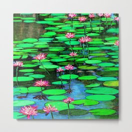 Homage to Ponds, Lilies and Lily Pads Metal Print
