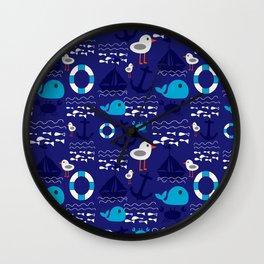 Summer boat blue Wall Clock