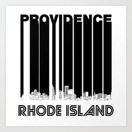 Retro Providence Rhode Island Skyline Art Print