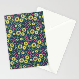 Sunflowers N' Roses - petrol blue Stationery Cards