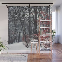 Winter Day in a forest Wall Mural