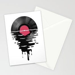 Vinyl LP Record Sunset Stationery Cards