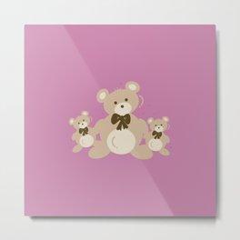 Teddy Bears Triplet - Pink Metal Print