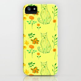 Cat in the garden - Pattern iPhone Case