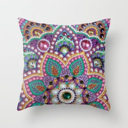 Purple mandala Throw Pillow