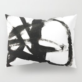 Brushstroke 4 - a simple black and white ink design Pillow Sham