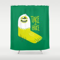 bigfoot Shower Curtains featuring Advice Bigfoot by Morkki