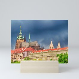 Storm clouds loom over Prague Castle Mini Art Print