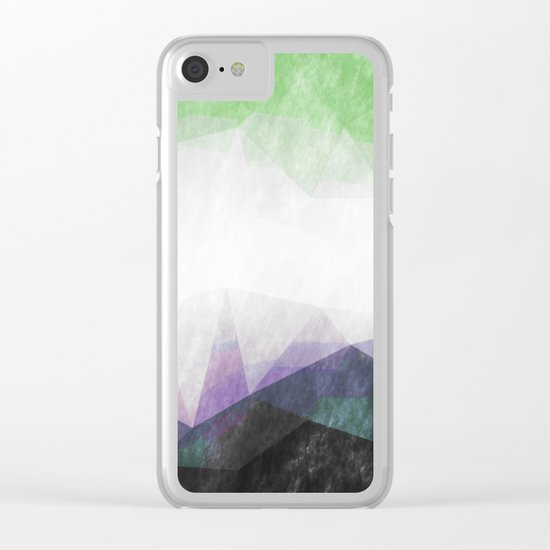 On the mountains- green watercolor - triangle pattern Clear iPhone Case