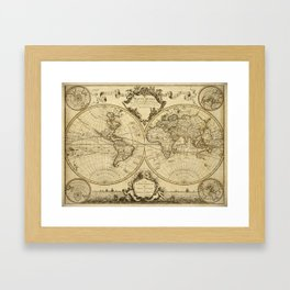 1720 Old World Map Historic Map Antique Style World Map Guillaume de L'Isle mappe monde Wall Map Framed Art Print