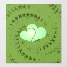 Two green hearts illusion Canvas Print