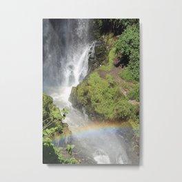 Waterfall With Rainbow Metal Print