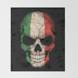 Dark Skull with Flag of Italy Throw Blanket