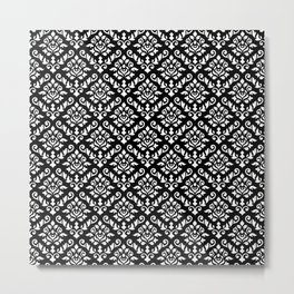 Damask Baroque Repeat Pattern White on Black Metal Print