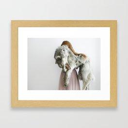 Girl with wolf, II Framed Art Print