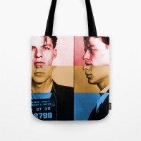 frank sinatra Tote Bags featuring Classic Frank Sinatra  by Brandon Minieri