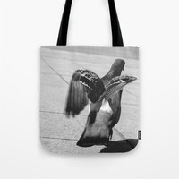 pigeon Tote Bags featuring Pigeon by Mark Spence