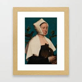 PORTRAIT OF A LADY WITH A SQUIRREL AND A STARLING - HANS HOLBEIN Framed Art Print