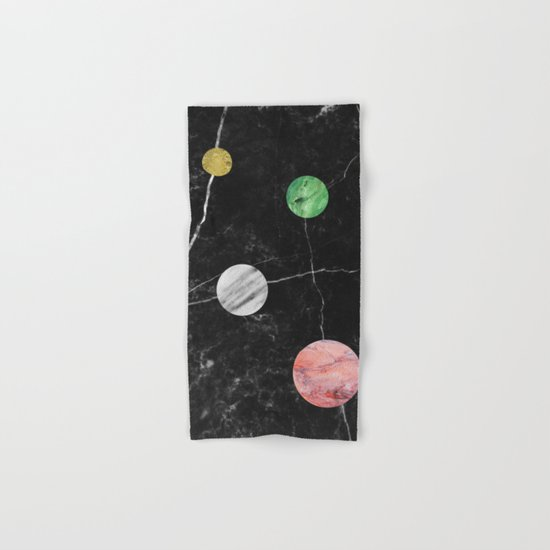 Black Marble with Polka Dots Hand & Bath Towel