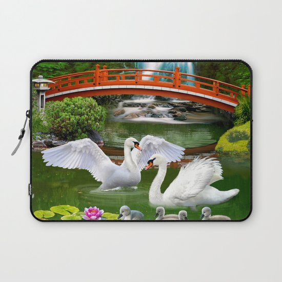 Swans and Baby Cygnets in an Oriental Landscape by holbrookartproductions