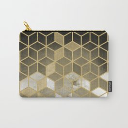Shades Of Gold Cubes Pattern Carry-All Pouch