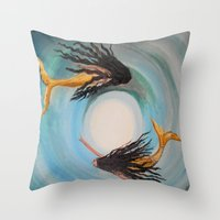 twins Throw Pillows featuring Twins by RokinRonda