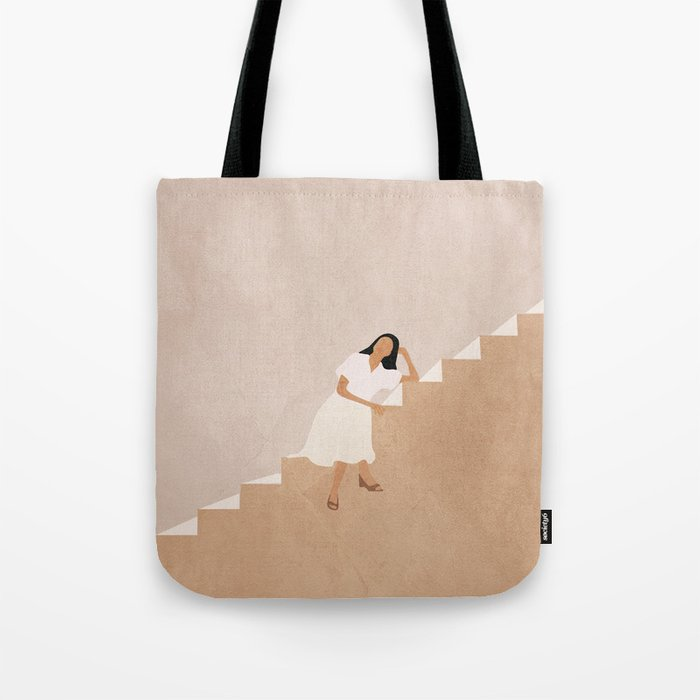 Girl Thinking on a Stairway Tote Bag