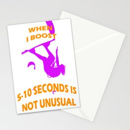 When I Boost 5-10 Seconds Is Not Unusual Neon Violet and Orange Stationery Cards