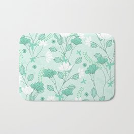 Vintage flowers in a green background Bath Mat