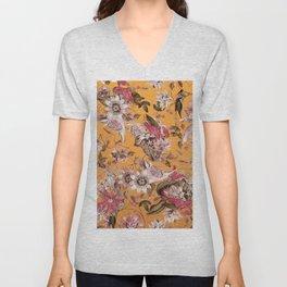 Passion Flower Floral Pattern on Orange Unisex V-Neck