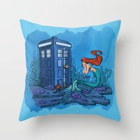 hallion Throw Pillows featuring Part of Every World by Karen Hallion Illustrations