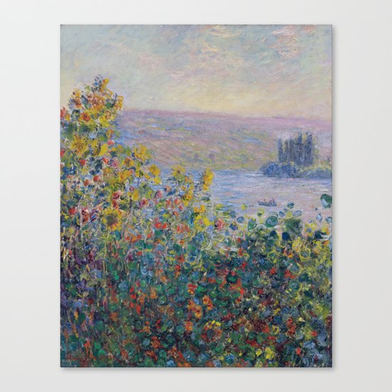 Flower Beds at Vetheuil by Claude Monet Canvas Print