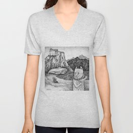The Whale, The Castle & The Smoking Cat Unisex V-Neck