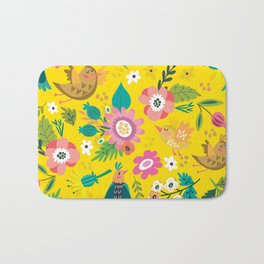 The yellow vision of the little bird Bath Mat