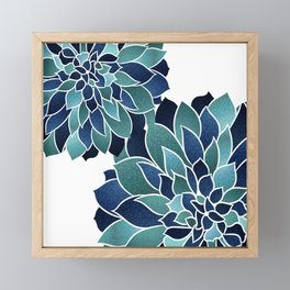 Festive, Floral Prints, Navy Blue and Teal on White Framed Mini Art Print