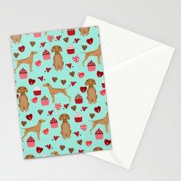 Vizsla valentines day dog breed gifts for dog lover unique dog pet portraits animal art Stationery Cards