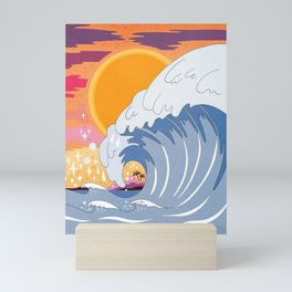 Sunset wave Mini Art Print