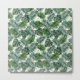 Tropical ivory green monster leaves floral Metal Print