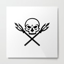 Human Skull Crossed Fishing Spear Mascot Metal Print