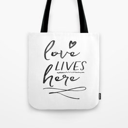 Love Lives Here   Framed Wooden Sign   Farmhouse Style   Rustic Decor   Fixer Upper   Welcome Home Tote Bag